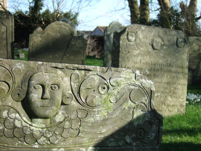 Carvings on gravestones at Inwardleigh
