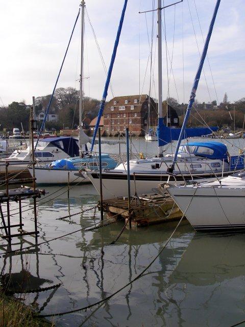 Boats moored at Ashlett Creek