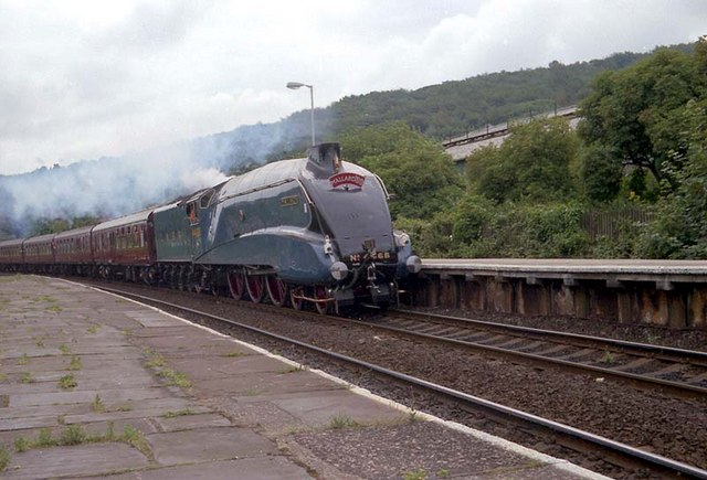 4468 Mallard passing Keighley