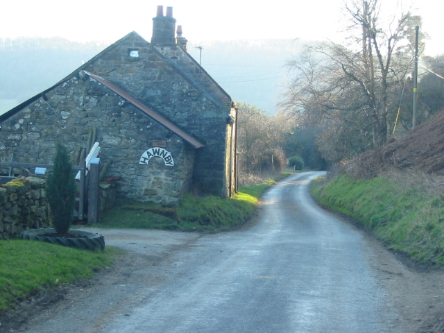 Cottage on lane dropping down to Hawnby
