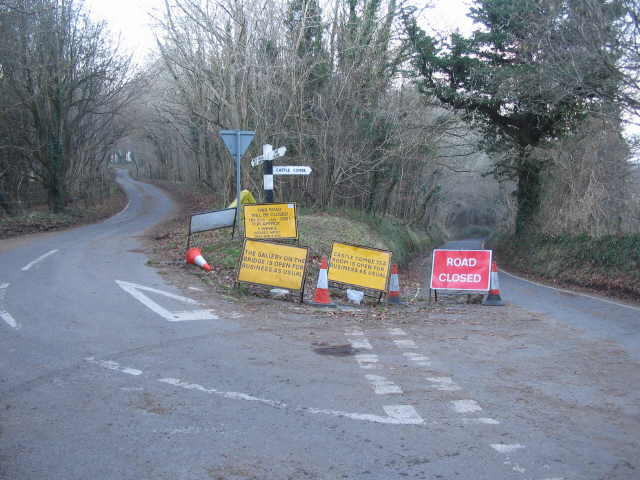 Road closure on the lane to Castle Combe