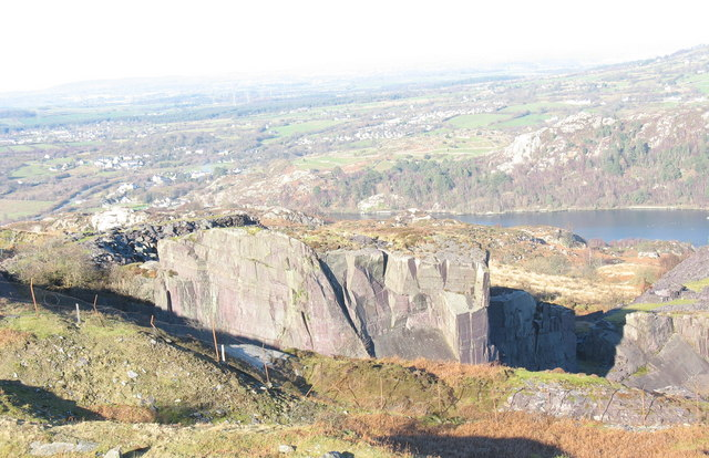 The top of Glynrhonwy Upper Quarry from the rubbish runs of Y Ddol