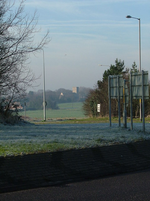 Monkton roundabout view to Church
