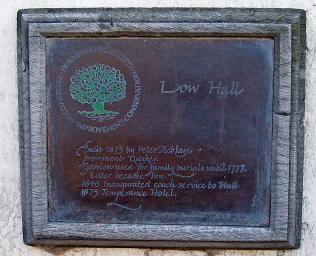 Plaque on Low Hall, Southgate, Hornsea