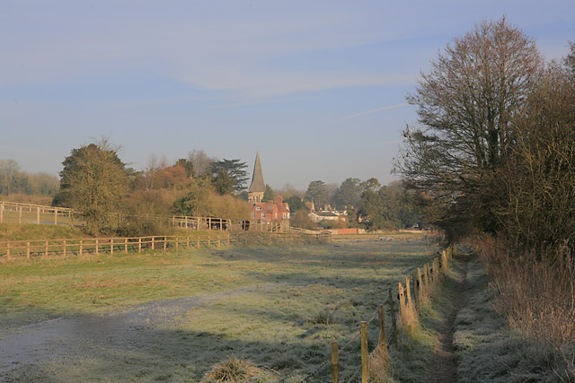 Riverbank footpath at Fulling Mill, Whitchurch
