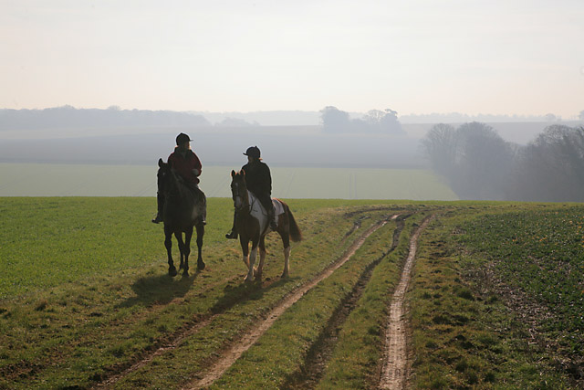 Horse riders on footpath SW of Brickkiln Wood, nr Whitchurch