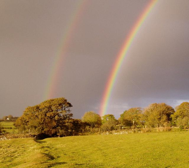Fields and rainbows near Prewley.