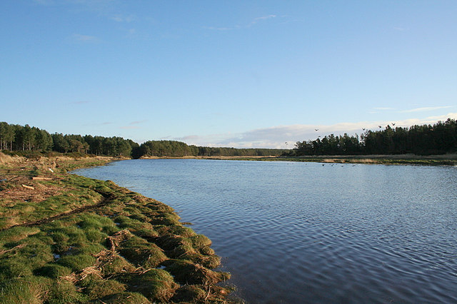 Looking upstream on the River Lossie with Innes Canal to the left.