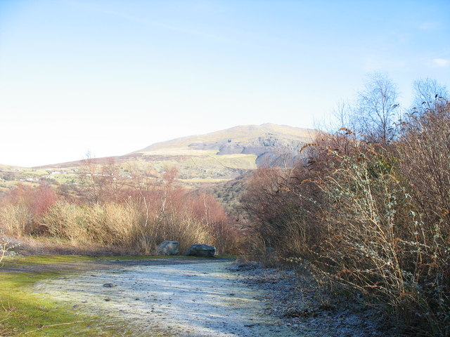 Old RAF track linking the Lower Glynrhonwy's upper pit with the lakeside buildings complex