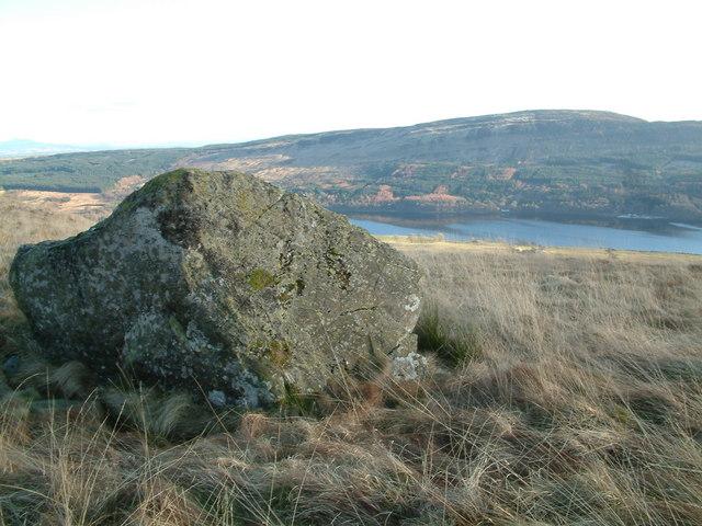 Boulder on slopes of Meall Liath, Loch Venachar in distance