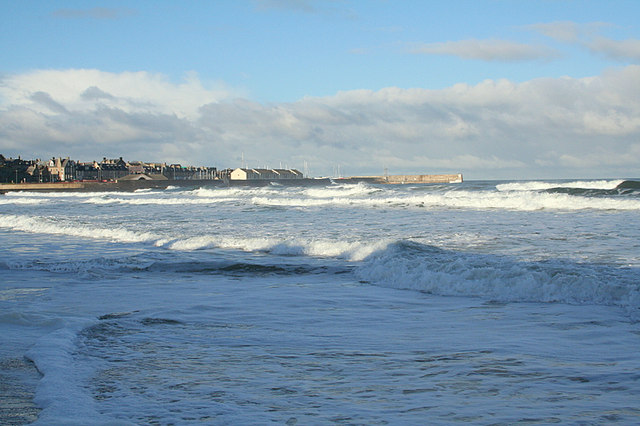 Lossiemouth North Pier juts out into the Firth.