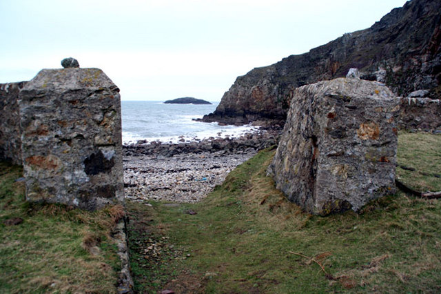 Ynys Badrig and stone gate posts