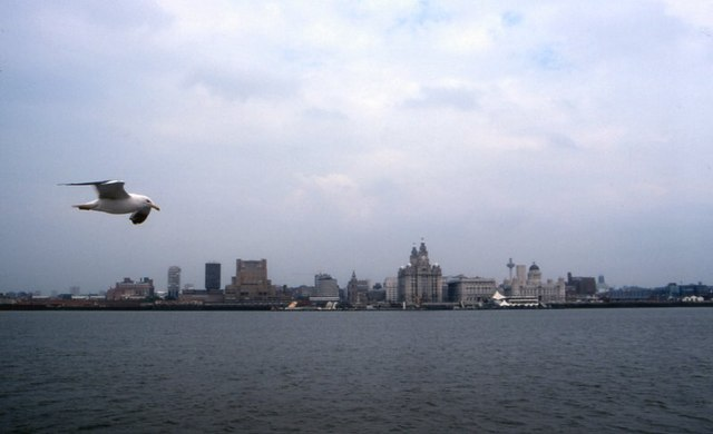 Liverpool skyline from the Mersey in 1994
