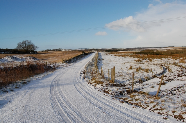Snow covered minor road