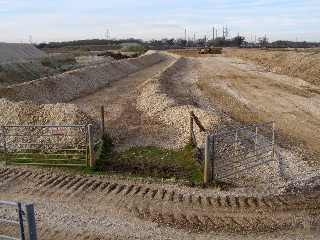 Footpath through gravel pit, Badminston