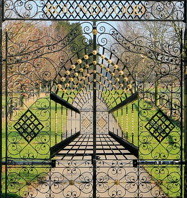 Closeup of gated entrance to Roundwood Farm