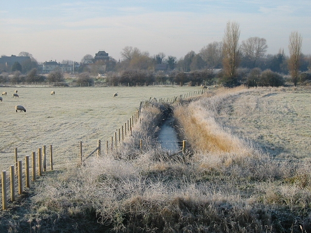 View along drainage ditch