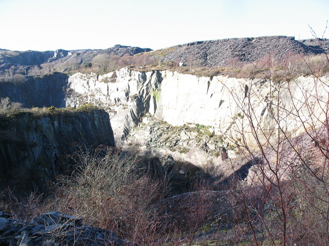 View west across the upper pit of Lower Glynrhonwy Quarry