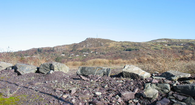 Reclaimed tipping area south of the middle pit of Lower Glynrhonwy Quarry