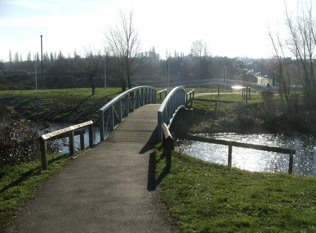 Ornamental Bridge over Lake on footpath to Friern Bridge Trading Estate, N11