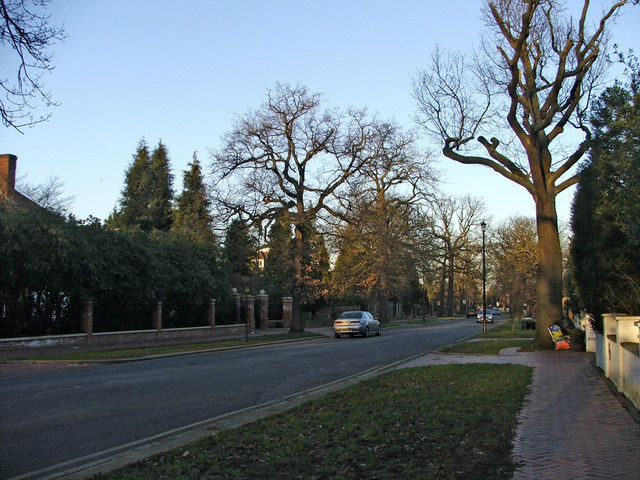 Broad Walk, N21, looking towards Winchmore Hill Green from Woodcroft
