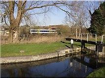SU5566 : Railway near Midgham Lock by Graham Horn