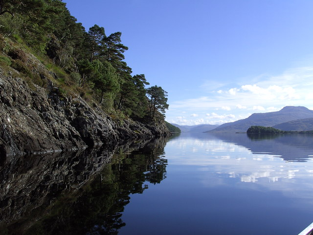 View from cliffs down Loch Maree