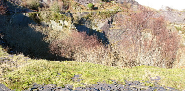Near the edge of the lower pit of Upper Glynrhonwy Quarry