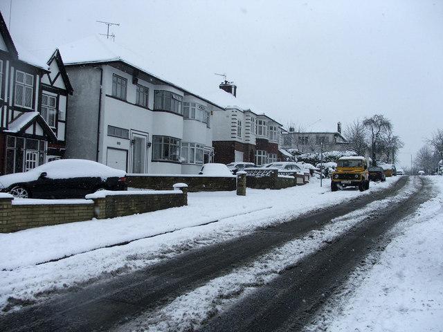 South Lodge Drive, London, N14, looking towards Bramley Road