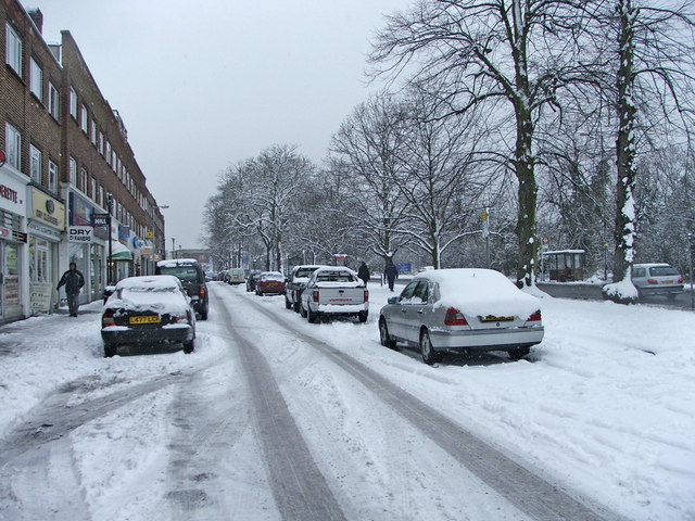 Service Road for Bramley Parade, N14,  with avenue of Lime trees on the right