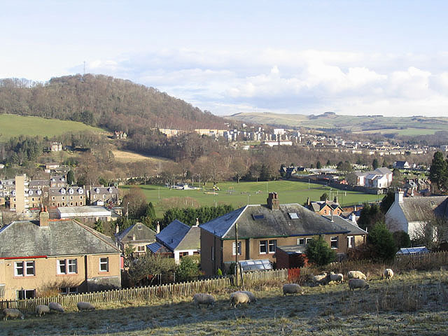 The Public Park and the southeast end of Galashiels