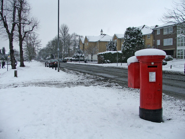 Chase Road, N14, looking south, with large George V Pillar Box on right hand side