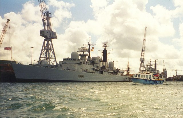 HMS Glasgow berthed at Portsmouth Dockyard