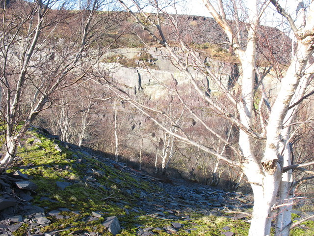 View northwards across the upper pit of Lower Glynrhonwy Quarry