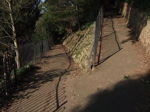 Railings and paths in Rougemont Gardens, Exeter