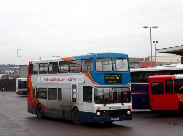 Arrival at Exeter bus station
