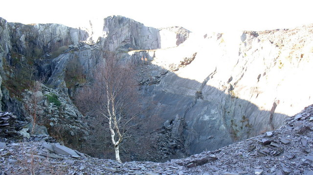 Upper Glynrhonwy Quarry 's upper pit from the causeway