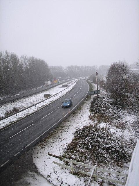Southoe bends A1 southwards.