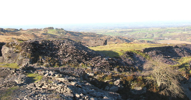 Looking north across Cook Quarry towards the ruin of the 1890 steam mill.
