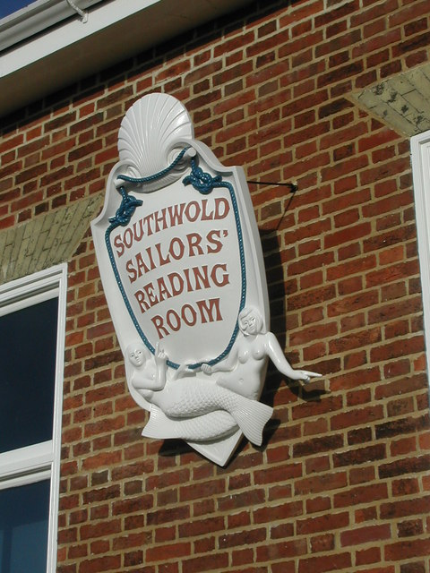 Plaque on south side of Sailors' Reading Room, Southwold