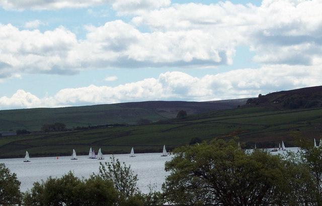 White sails on Derwent Reservoir
