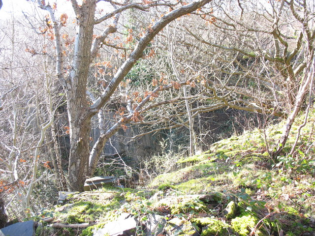 The backwall of the lower pit of Lower Glynrhonwy Quarry