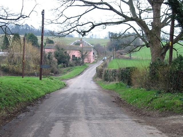 The road heading SE from West Langdon