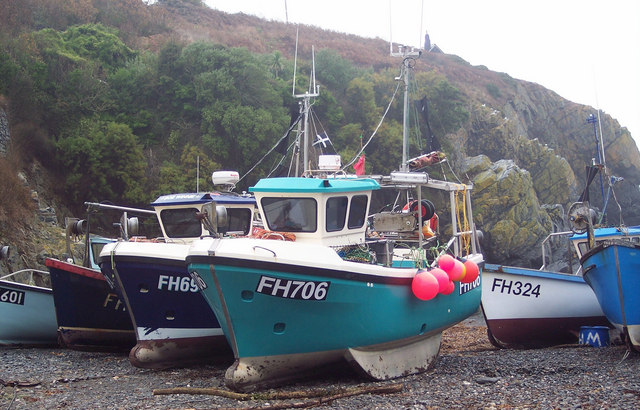 Fishing boats on the beach at Cadgwith