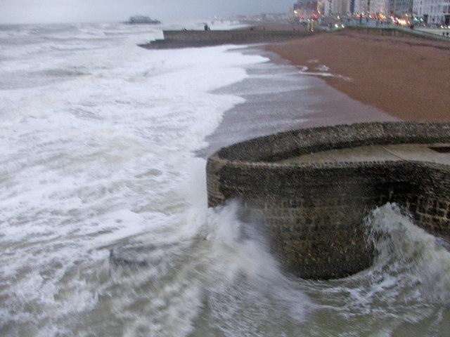 Rough Sea at Brighton  showing beach