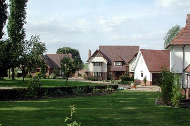 Houses near church, Little Bardfield, Essex