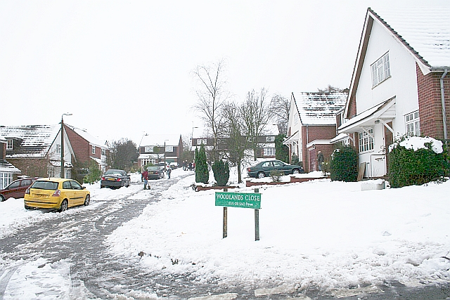 Woodlands Close in the February Snow
