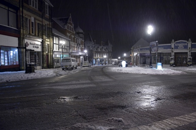 Llandrindod Town Centre late evening after snow