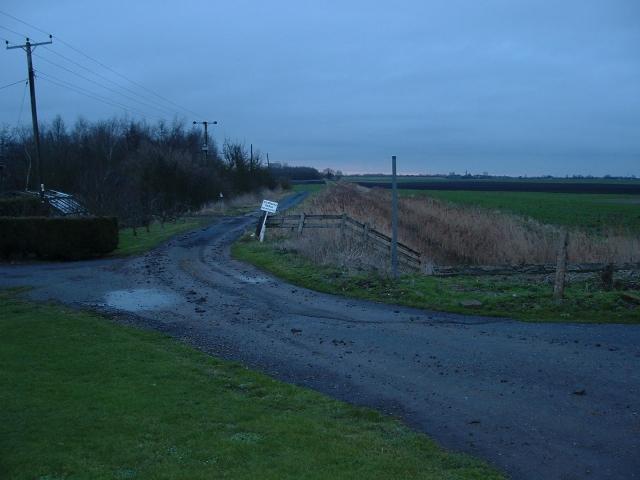 Farm track and drain near Guyhirn, Cambridgeshire