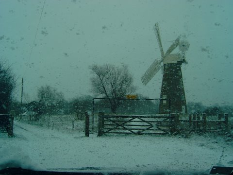 Billingford Windmill snowbound